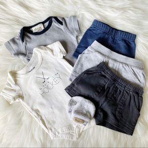 6-Piece 0-3M Lot - Onesies + Shorts + Mittens